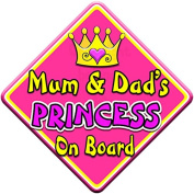 SWIRL JEWEL * Mum & Dad's PRINCESS * On Board Novelty Car Window Sign