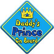 SWIRL JEWEL * Daddy's Prince * On Board Novelty Car Window Sign
