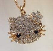 Rumy's Boutique hello kitty big rhinestone pendant Necklace a perfect gift