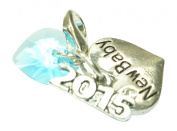 New Baby Clip on Charm and 2015 sign charm with Blue Crystal comes in Blue Gift Bag Handmade by Libby's Market Place