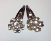 Rumy's Boutique Hand Made 2 Beautiful Clear Crystal flower hair clips
