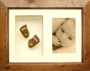 BabyRice 3D Baby Casting Kit with Rustic Wooden Display Frame, Bronze painted Hand and Foot casts