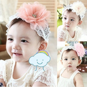 SwirlColor Baby Girl Lace Headbands With Big Pink Chiffon Flower