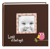 Pioneer Photo Albums EV-246FB/O 200-Pocket Baby Owl Printed Designer Frame Cover Photo Album, Pink