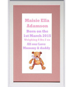Baby Name Picture,Christening Gift,Framed Name, Pink Bear Picture, Ash Mount