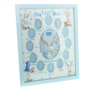 Bebunni Rabbit Baby My First Year Photo Frame 13 Multi Picture Boys Blue