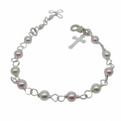 . Pearl Girls Bracelet with Cross and Extension - First Communion, Confirmation, Christening