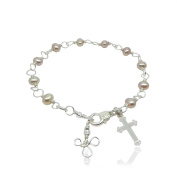 Girl's Pink Freshwater Pearl Bracelet with Cross