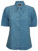 Simon Jersey Short Sleeve Open Collar Blouse Blue