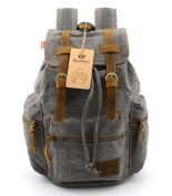 BLUBOON(TM) New Vintage Canvas Leather Backpack Mens Backpacks Rucksacks for Hiking/School/Outdoor