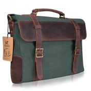 Kattee Vintage Canvas Leather Messenger travelling Briefcase shoulder laptop Bag