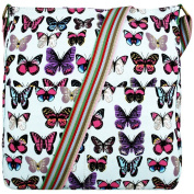 Butterfly Print Canvas Cross Body Satchel Messenger Bag
