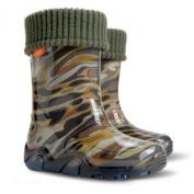 Boys Kids Fleece-Lined Wellington Boots Wellies Khaki New