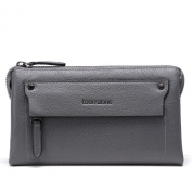 Men's Messenger Wallet Shoulder School Bag Cross Body Bag for Teenager Grey Genuine Leather