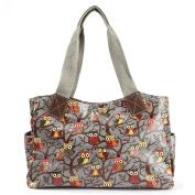 Polka Owl Skull Rose Oilcloth Canvas Handle PU Leather Bottom Women Shoulder Bag