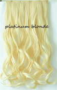 One Piece Clip in Curly Wavy 60cm Platinum Blonde Synthetic Hair Extensions