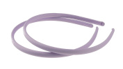 Girls Ladies Set of 2 Narrow 1cm Satin Covered Alice Bands Headbands Lilac