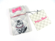 Small Fabric Covered Fluffy Kitten Cat Grey & Pink Handbag 2 Mirror Compact