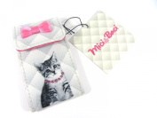 Small Fabric Covered Kitten Cat Grey & Pink Handbag 2 Mirror Compact