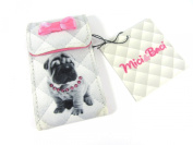 Small Fabric Covered Puppy Dog Grey & Pink Handbag 2 Mirror Compact