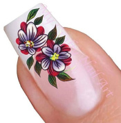 Purple & Red Flower Adhesive Nail Art Stickers