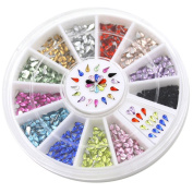Colourful 3mm Nail Decoration Stickers Waterdrop Rhinestone 12 Colours DIY Nail Tips Wheel