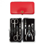 THREE SWORDS • Exlusive 7-Piece Manicure, Pedicure and Grooming set • Synthetic leather red • basic standard quality