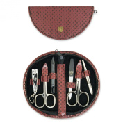 THREE SWORDS • Exlusive 6-Piece Manicure, Pedicure and Grooming set • Synthetic leather burgundy/black spots • basic standard quality
