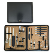 THREE SWORDS • Exlusive 23-Piece Manicure, Pedicure and Grooming set • Synthetic leather black • basic standard quality