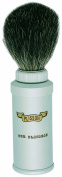 Plissons 406.06V Travel Shaving Brush - Size 6 - Brushed Aluminium Handle with Pure Black Bristles