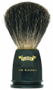 Plissons 5543 Shaving Brush - Size 12 - Pure Black Bristles - Black Handle