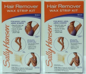 Sally Hansen Quick and Easy Hair Remover Wax Strip Kit For Under Arms Legs and Body Women (Pack of 2 Kits) by Sally Hansen