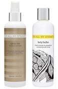 For All My Eternity Medium / Dark Spray Tan Solution Natural Airbrush Tanning Mist with CERTIFIED ORGANIC DHA 250ml - Totally Natural-Looking Liquid Spray Tanner + Sweet Orange & Grapefruit Body Buffer Exfoliating Shower Scrub 250ml. Perfect for Home o ..