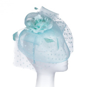 Our 'Highgrove' Vintage Style Fascinator Comes in 6 Beautiful Colours to Match Any Attire. Style with a Soft Nylon Net Rim to Cover the Face Partly, Large Satin & Organza Corsage Set on Net Bows, a Fan of Flock Polka Dot Net, with Tonal Real Feather Sp ..