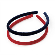 2 x Girls Red & Navy Blue Velvet Look Headbands/ Hairbands/ Alice Bands