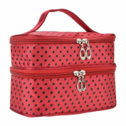 FINEJO Womens Fashion Portable Toiletry Bag Dot Pattern Double Layer Makeup Bag Organiser