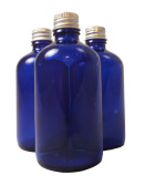 Elixirs of Life - Three 100ml Empty Blue Glass Bottles with aluminium lids for Aromatherapy and Cosmetics