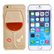 iPhone 6 12cm Case Cover-Flowing Liquid Goblet Plastic Cover for iPhone 6 12cm , Hard Case for iPhone 6 12cm , Clear Case for iPhone 6, Fashion Creative 3D Design Flowing Liquid Wine Glass Red Lip High Heels Clear Back Hard Case Cover For iPhone ..