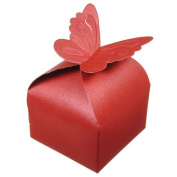 10pcs Butterfly Pattern Pearl Paper Wedding Party Favour Gift Candy Box,wine red