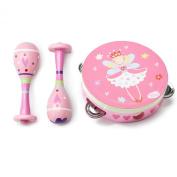 Kids Pink Fairy TAMBOURINE & MARACAS - Wooden MUSICAL INSTRUMENT Toy - Lucy Locket
