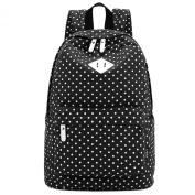 S-ZONE Lightweight Polka Dot Canvas Backpack 36cm - 38cm Laptop PC School Bag for Teenage Girls