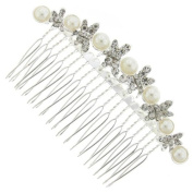 Dragonfly Pattern Silver and Austrian Crystal Bridal Hair Comb Clip