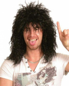 Adults Fancy Partywear Men Funky Curly Hair Rock Star Style Artificial Wig Black