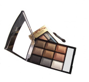 LyDia 9 Colours Diamond Smoky Shimmer EyeShadow Palette Makeup Kit Black/White Highlight/Brown/Silver/Gold 8846-08