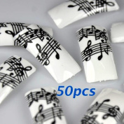 50 Black White Music Note French False Nail Tips NEW