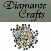 200 x 6mm Clear Iridescent AB Round Diamante Loose Rhinestone Gems created exclusively for Diamante Crafts