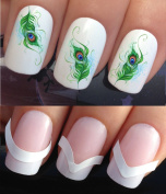 WATER NAIL TRANSFERS DECALS STICKERS ART SET #613 & 172. **plus x48 nail tip guides!!** x24 PEACOCK EYE TAIL FEATHER CURL PLUMES TATTOO WRAPS & x48 FRENCH MANICURE TIP GUIDES! CAN BE USED WITH NATURAL GEL ACRYLIC STICK ON NAILS! OR WITH GLITTER DUST CA ..