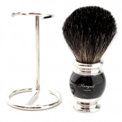 Haryali Hand Assembled Sophist Collection Black Badger Hair Shaving Brush German Stainless Steel Wire Stand.