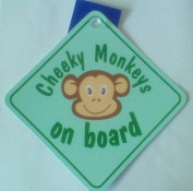 Baby On Board Cheeky Monkeys On Board Green Window Sucker Sign