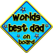 FUNKY WORLDS BEST DAD Baby on Board Car Window Sign
